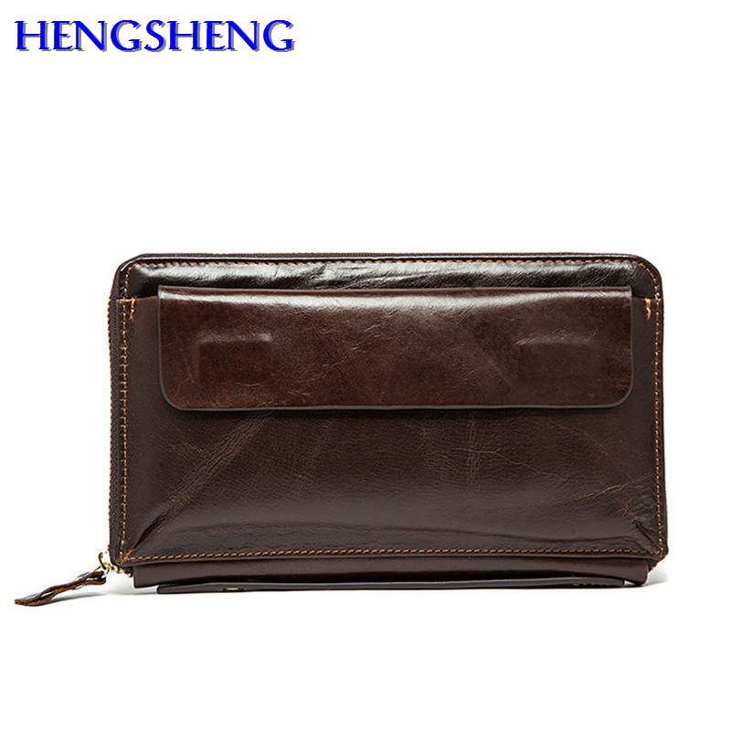 HENGSHENG Popular genuine leather men wallet with quality cow leather men long wallet by free shipping men hand wallets dhl free shipping brand clothing cow leather long jackets men s genuine leather black casual jacket fashion classics