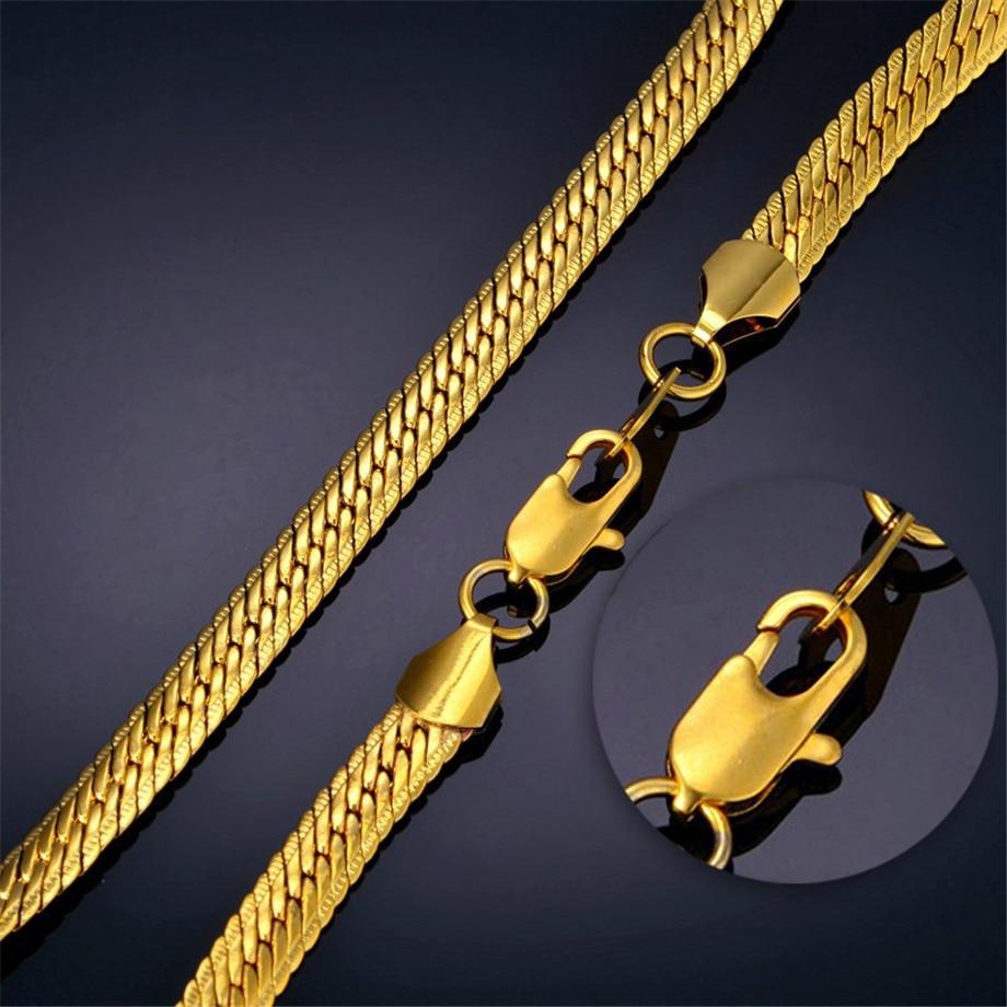 Vīriešu hipipa bieza zelta ķēdes saites kaklarota, zīmolu - Modes rotaslietas - Foto 3