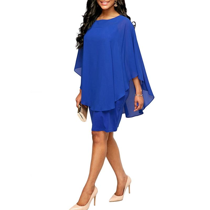 Casual Chiffon Overlay Plus Size Women Dress