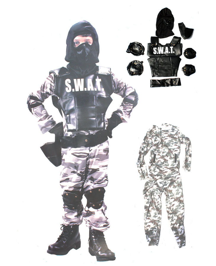 Free shipping children halloween party  performance S.W.A.T Special Weapons And Tactics policeman clothing fireman suit costume