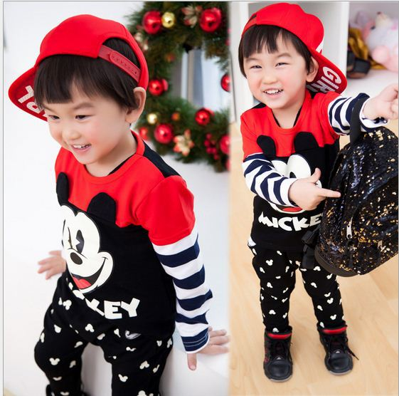 Baby Boys Clothing Set Spring Child Mickey & Minnie Girls Set Fashion Suit Kids Long Sleeve Hoodies+Pants Clothes Sets Kids summer girls boys clothes kids set velvet hello kitty cartoon t shirt hoodies pant twinset long sleeve velour children clothing