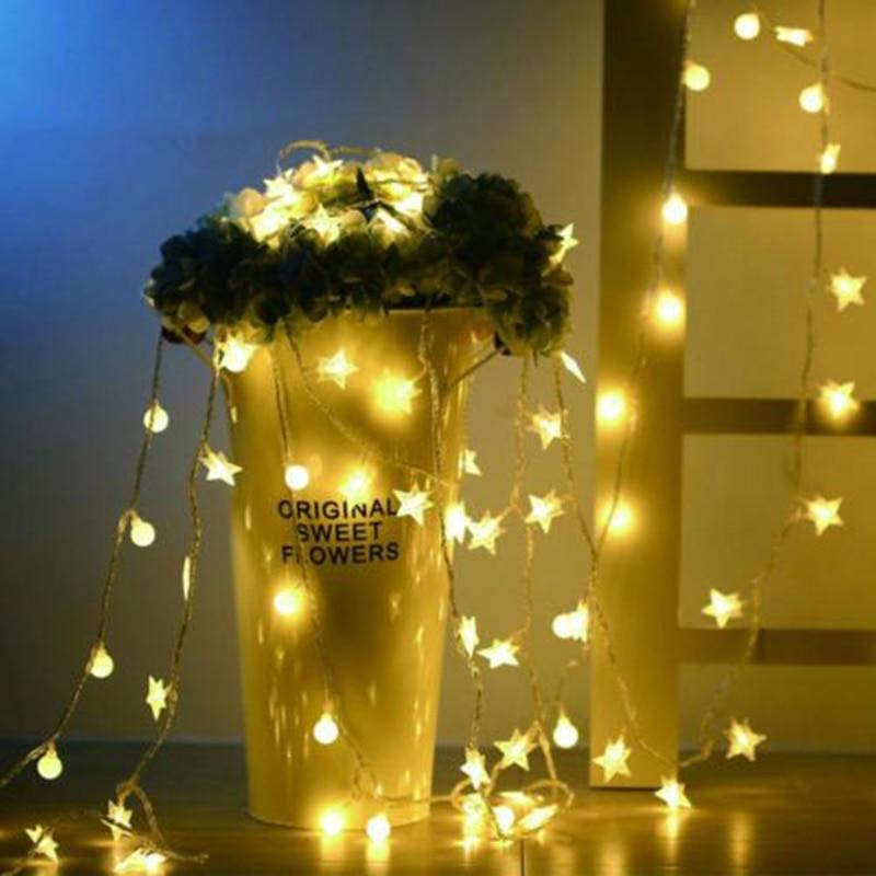 6M 40 LED Star Flower Wedding Garland home decor String Light Christmas Decorations for Home Birthday Wedding Outdoor Light