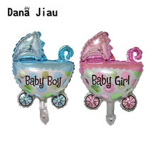Mini Baby Shower Birthday Party Decoration Pram Girl Boy Foil Balloons DIY Decorative Inflatable Air Ballon Kid Party(China)