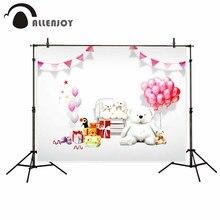 Allenjoy vinyl photographic background Balloon pink teddy bear cute birthday girl backdrop photocall professional customize