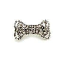 Мода ясно серебро горный хрусталь собаки кость шерсть домашних животных заколка леди французский барретт украшение оборудование ювелирных изделий бесплатная доставка 6 шт. x