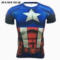 Homem Aranha Homem de Ferro capitão América Encabeça Homens 3D Camisetas Crossfit Fitness Musculação ZOOTOP de Super-heróis Camisetas 2017 do Sexo Masculino URSO