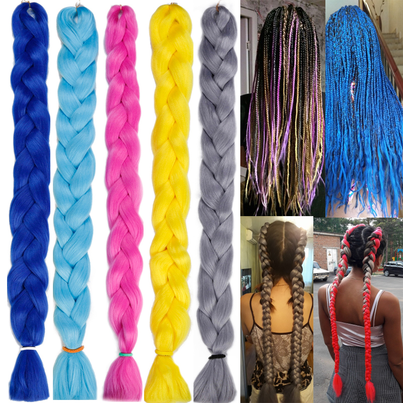 LISI HAIR Synthetic Crochet Braids Kanekalon In Jumbo Braiding Hair One Piece 82 Inch 165gpcs Pure Color In Hair Extensions  (4)