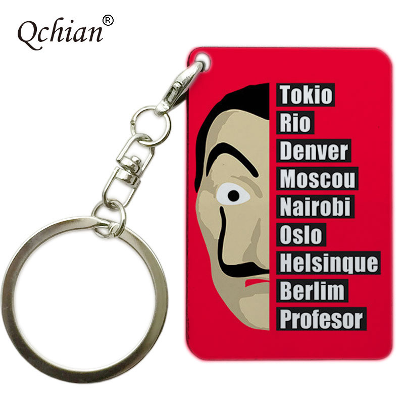 Custom Wallet Chain Jewelry Transparent Acrylic Or Wooden Keychain House of Paper La Casa De Papel Color Photo Printed Series