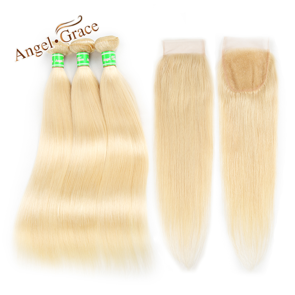 Peruvian Hair Blonde 3 Bundles With Closure Angel Grace Hair 100 Human Hair 613 Bundles With