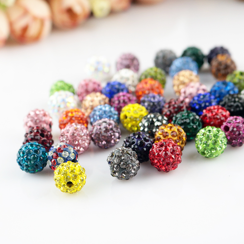 50//100pcs Big Hole Crystal Strass Pave Clay Round Disco Ball Spacer Beads