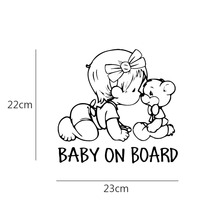 23*22 cm Lovely Bear Reflective Car Stickers BABY ON BOARD Cartoon Decals  Vinyl Waterproof Car Sticker Car Styling
