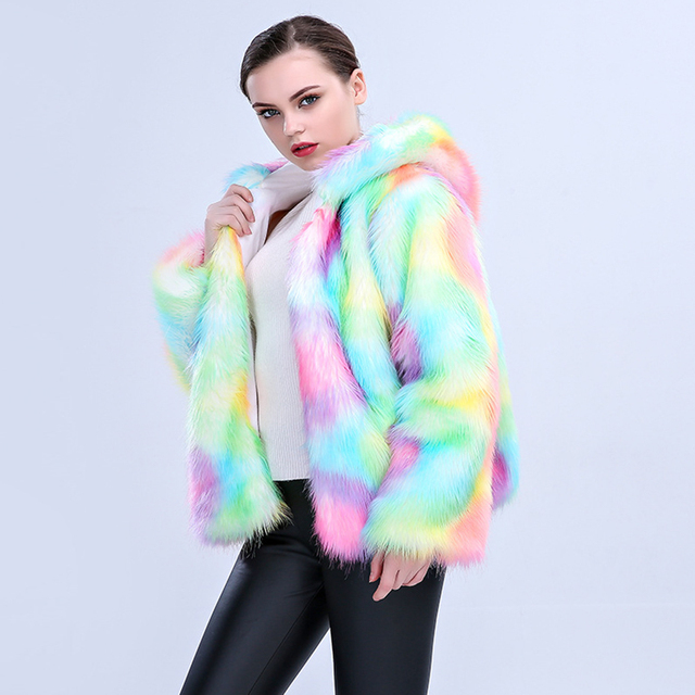 Colorful Artificial Fur Coat with Hooded