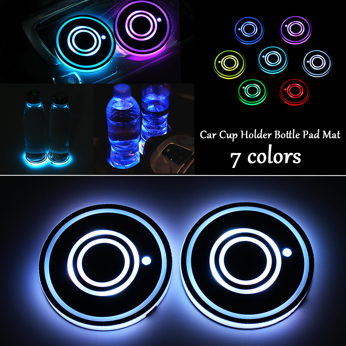 7 Colors Universal Car Cup Holder Bottom Mat Water Drinking Holder Organizer Pad USB LED Sensor