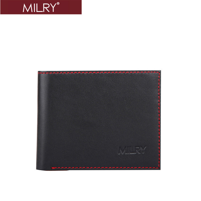 Free Shipping Brand MILRY 100% Guaranteed Genuine Leather men wallet purse money clip Black wholesale and retail WC0175