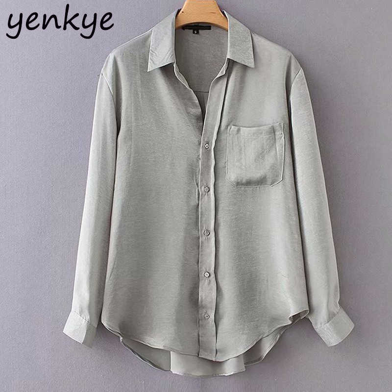 71de5a35fd8 Металлик Цветной рубашка Для женщин блузки с длинным рукавом отложной  воротник Асимметричная Хем плюс Размеры осенние