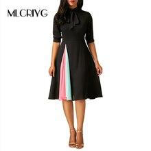 MLCRIYG 2018 Spring Office Lady font b Dress b font font b Vintage b font Style