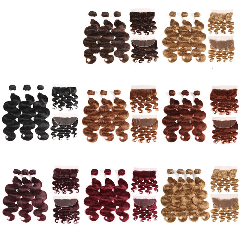 99J/Burgundy Red Color 3/4 Bundles With Frontal 13*4 Brazilian Straight Human Hair Weave Bundles SOKU Non-Remy Hair Extension