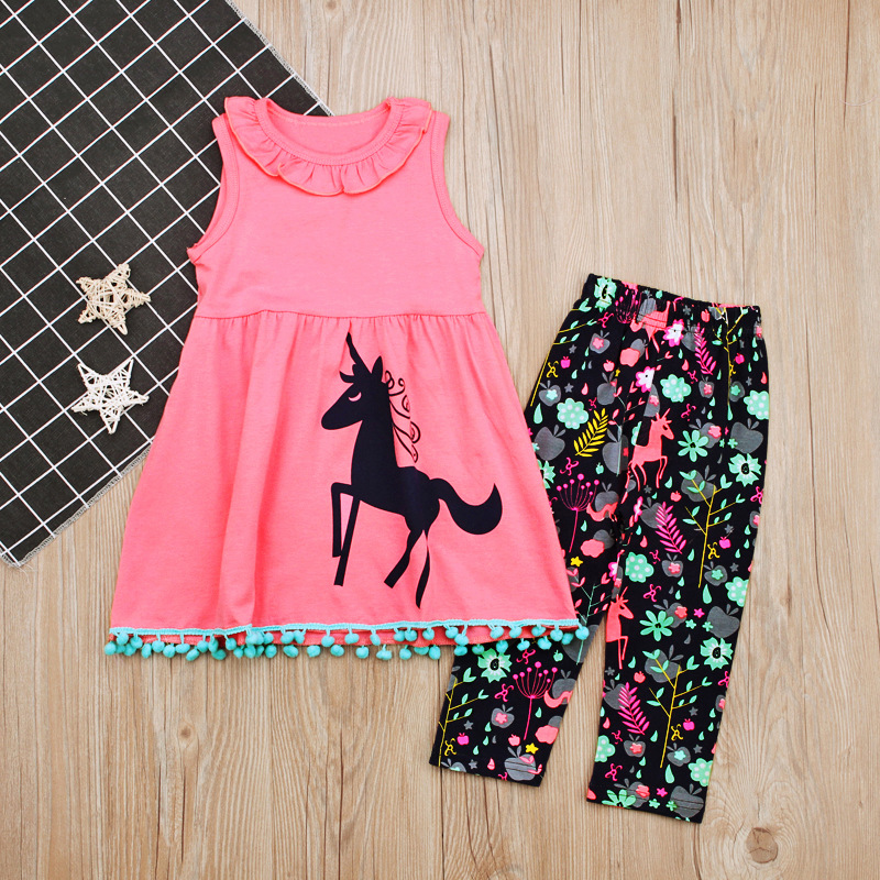 Infant Sets Horse Animal Pink Sleeveless Vest Tops Tees Floral Pants 2 pcs Casual Baby Girls Clothes Set