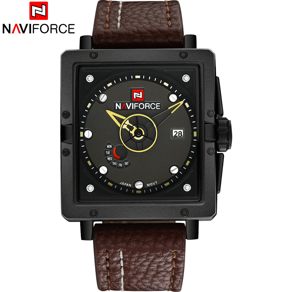 NAVIFORCE Brand Men's Sports Quartz Watches Men Creative Analog Wristwatches 30M Waterproof Leather Strap Auto Date Square Clock men sports watches waterproof multiple time zone led quartz wristwatches silicone auto date back light ohsen brand watch ad2806