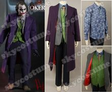 Batman The Dark Knight Joker Halloween Cosplay Costume Outfit Trench Coat Blazer Pants Vest Shirt Tie Full Set For Men