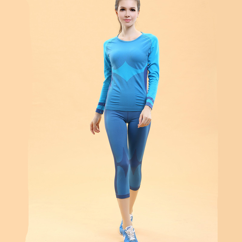 Spring 2019 Women Striped High Elastic Base Layers Thermal Underwear Set Ladies Body Shaper Long Johns Compression Cparis + Tops