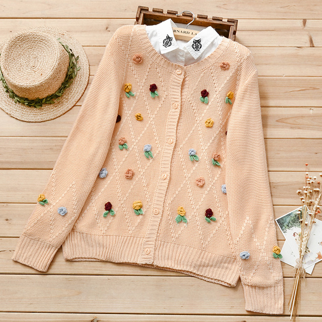 Us 460 Autumn New Women Knitted Sweater Cardigan Outwear Cable Knit Ladies Sweat Handmade Flowers Loose One Size Cute Sweater Mori Girl In