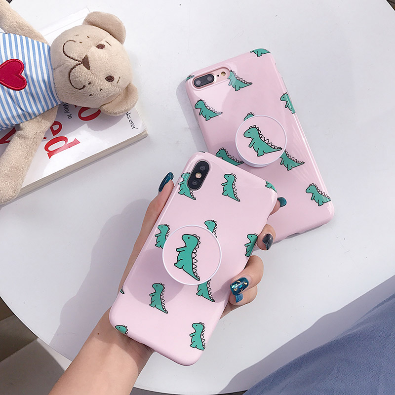 Lovely baby <font><b>dinosaur</b></font> phone <font><b>cases</b></font> For <font><b>iphone</b></font> 8 <font><b>case</b></font> airbag bracket Grip cover For iphone6 6s <font><b>7</b></font> 8plus X XS XR XS MAX Stand holder image