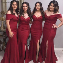 Burgundy Long Bridesmaid Dress Off Shoulders Summer Country