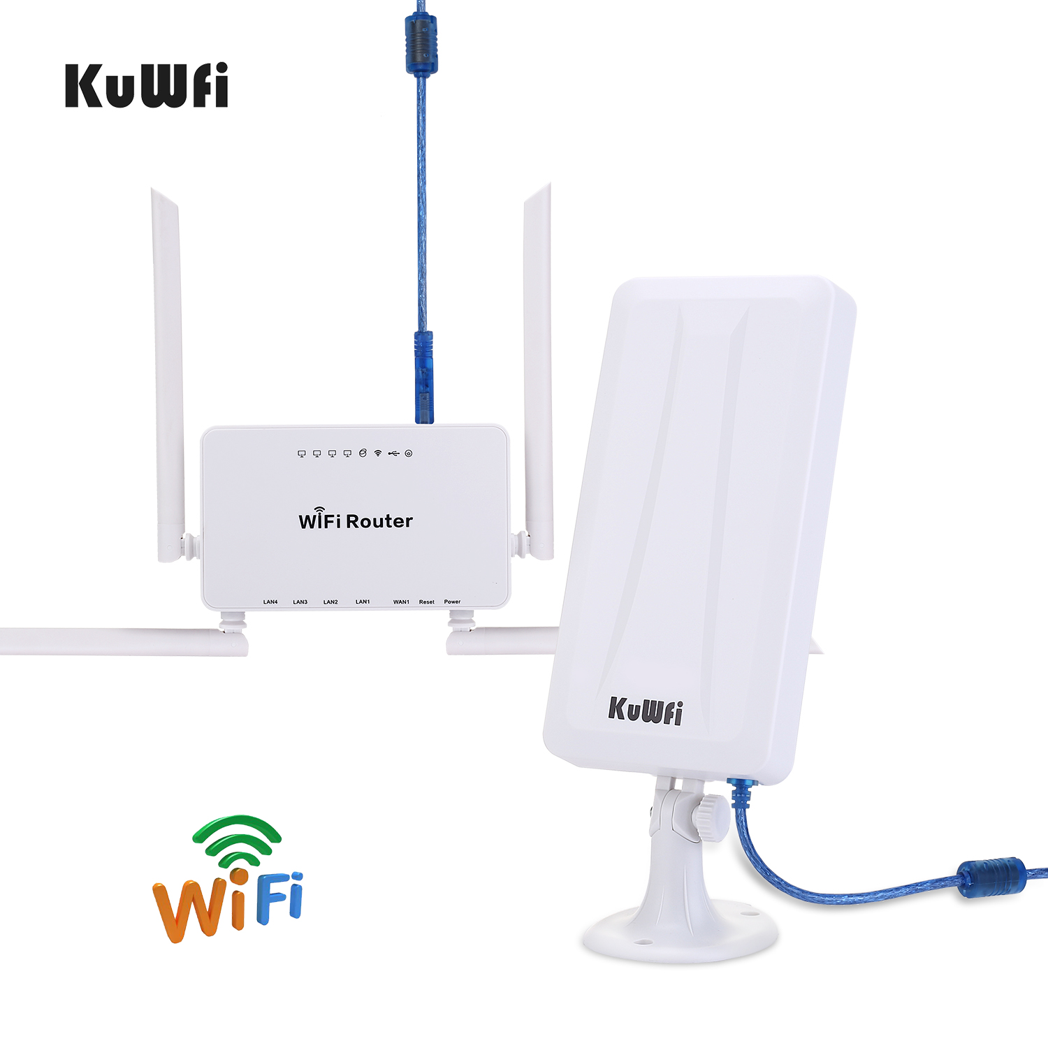 Image 4 - KuWFi 300mbps Wireless Router+High Gain Wifi USB Adapter 300Mbps High Power Wifi Router one Set Extend Wifi Signal Share 32users-in Wireless Routers from Computer & Office