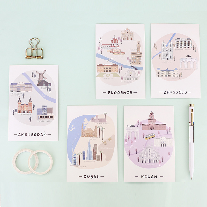 30pcs the city I travel card multi-use as Scrapbooking party invitation DIY Decoration gift card message card postcard