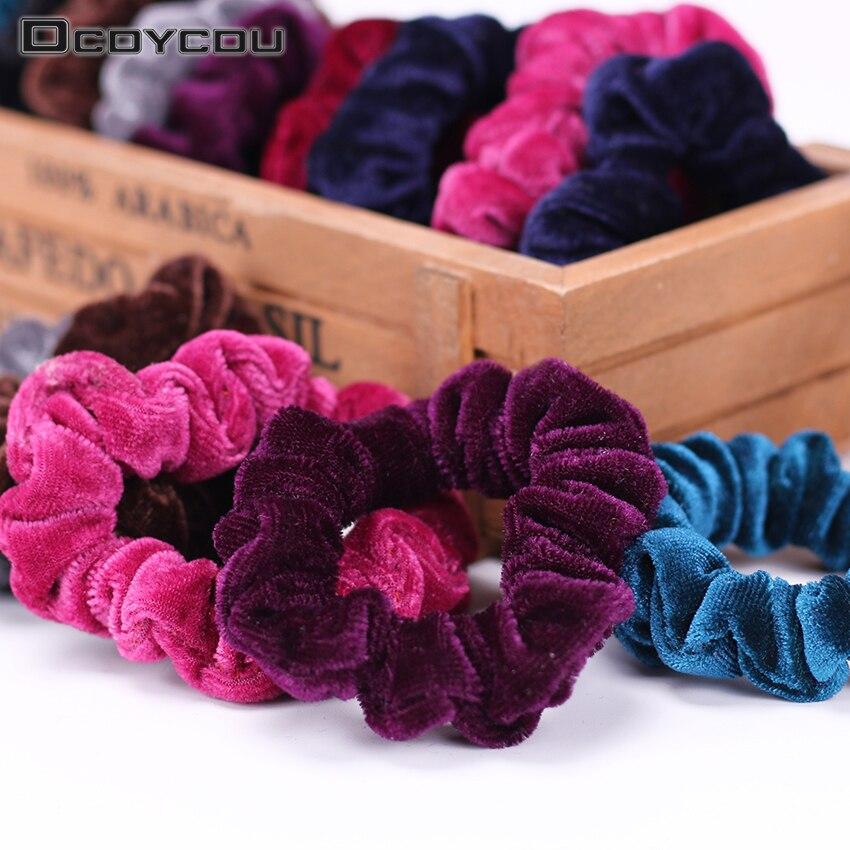 5PCS Girls   Headwear   Scrunchies Soft Flannel Ponytail Holder Elastic Hair Bands Headband Hair Accessories for Women