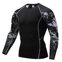 Men Compression 3D Printing Fitness Long Sleeves Shirts Base Layer Skin Tight Weight Lifting T Shirts