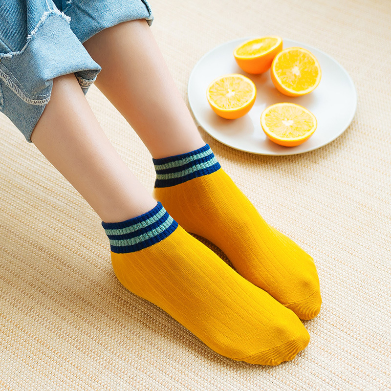 Recommend Quality Stripe Women Socks Breathable Cotton Socks Candy Color Hot Sale Female Comfortable Socks