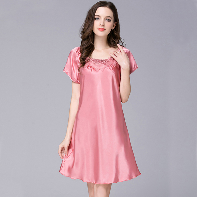 NG0293 Women   Nightgown     Sleepshirt   Summer Short Sleeve Nightdress Satin Silk Sexy Lace Night Dress Plus Size Night Gown Sleepwear