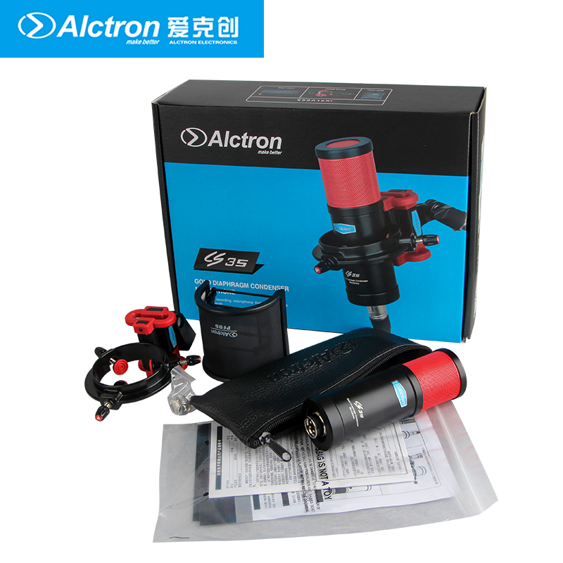 Alctron CS35 large diaphragm condenser microphone with shock mount and pop filter for studio recording stage