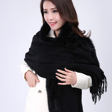 Winter New Black Chinese Women Wool Cashmere Shawl Rabbit Fur Scarf Cape Thick Warm Scarves Pashmina Tippet 176 x 68cm
