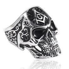 лучшая цена LISTE&LUKE 1pc Black Silver Huge Skull Ring 316L Stainless Steel Punk Style Newest Design Men Boys Skull Ring