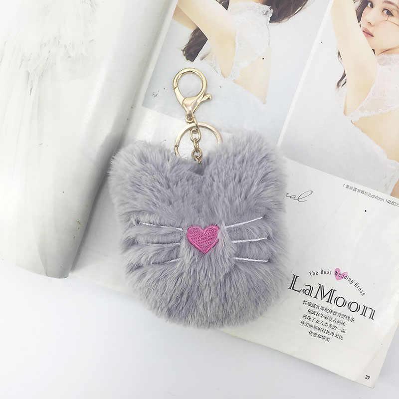 Nuevo peluche gatito llavero colgante de lana artificial bolso de señora coche llavero accesorios regalo creativo