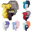 Caçoa a roupa das crianças, bebes menino caminhão amarelo do bebê 3 peças set, bodysuit & pant, para o bebé e do bebé, 6 M-24 M