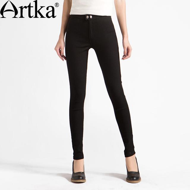 Artka mujeres del resorte nuevo color sólido flaco slim fit pantalones de moda a mediados de cintura encuadre de cuerpo entero pantalones lápiz con bolsillos ka11061q