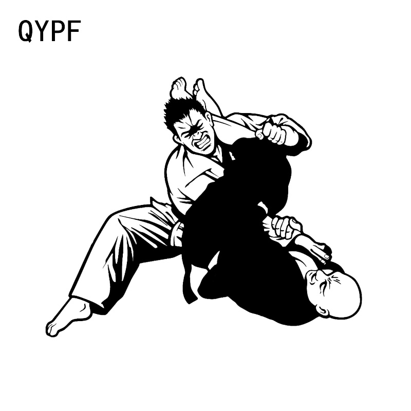 QYPF 15.4*12.7CM Unique Judo Stickers Car Styling Vinyl Decor Reflective Silhouette High Quality C16-0394