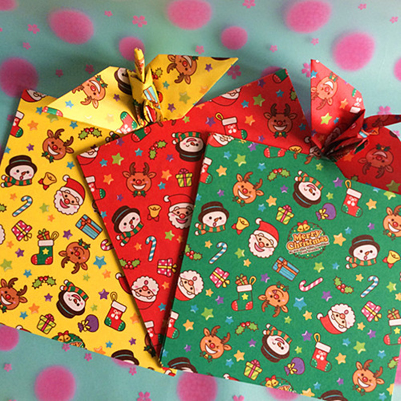 Christmas Origami Cranes Paper Gift Color Pattern DIY Handmade Paper Crafts Origami Paper Folding Colored Scrapbooking Paper