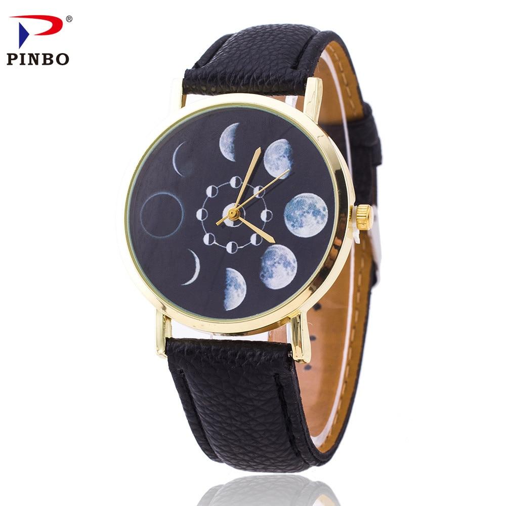 2017 Casual Women Watch Fashion Montre Solar Eclipse Women's Watches Analog Leather Quartz Wrist Watch Female Dress Relogio C-54