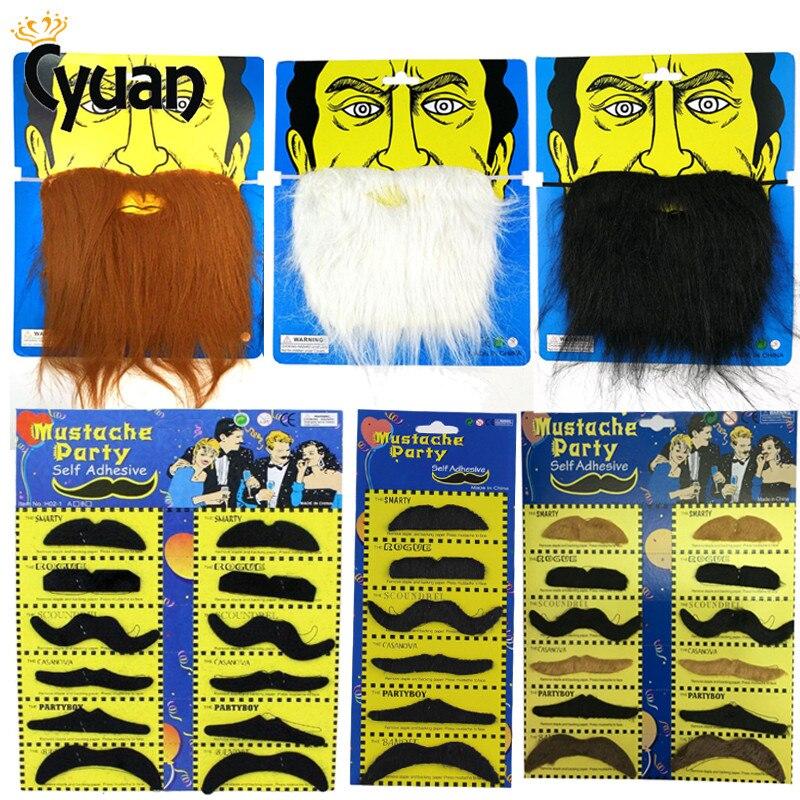 PARTY BEARD Moustache Costume Fancy Dress Halloween Fake Mustache Funny HF