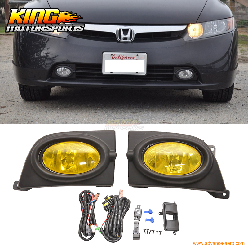 For 2006-2008 Honda Civic 4Dr Sedan Yellow Lens Fog Lights & Switch RH & LH USA Domestic Free Shipping Hot Selling fit for 2006 2015 honda civic 4dr sedan roof spoiler abs painted taffeta white nh578