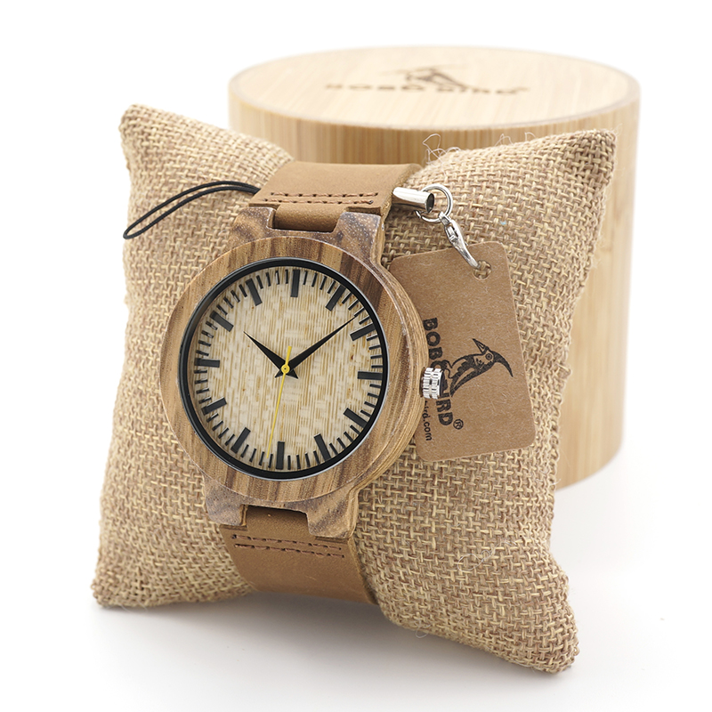 BOBO BIRD Mens Watches Bamboo Wooden Quartz Watches with Japan Movement with Real Leather Strap in Gift box for Women bobo bird f08 mens ebony wood watch japan movement 2035 quartz wristwatch with leather strap in gift box free shipping
