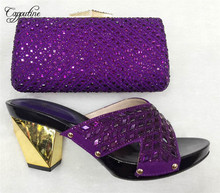Capputine High Quality Shoes And Bag Set Italy New African Rhinestone Pumps Shoes And Bag Set