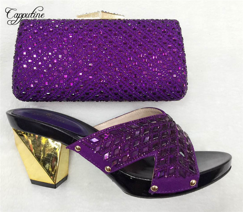 Capputine High Quality font b Shoes b font And Bag Set Italy New African Rhinestone Pumps