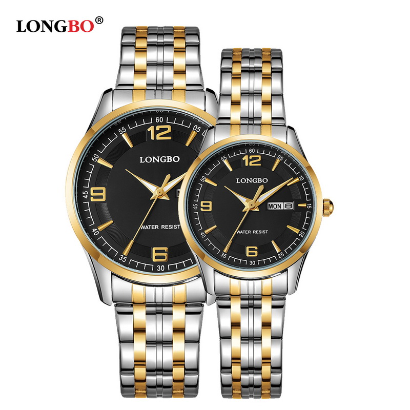 Brand LONGBO Luxury Lovers' Couple Watches Men Waterproof Business Watch Women Casual Full Steel Quartz Wristwatch Clock