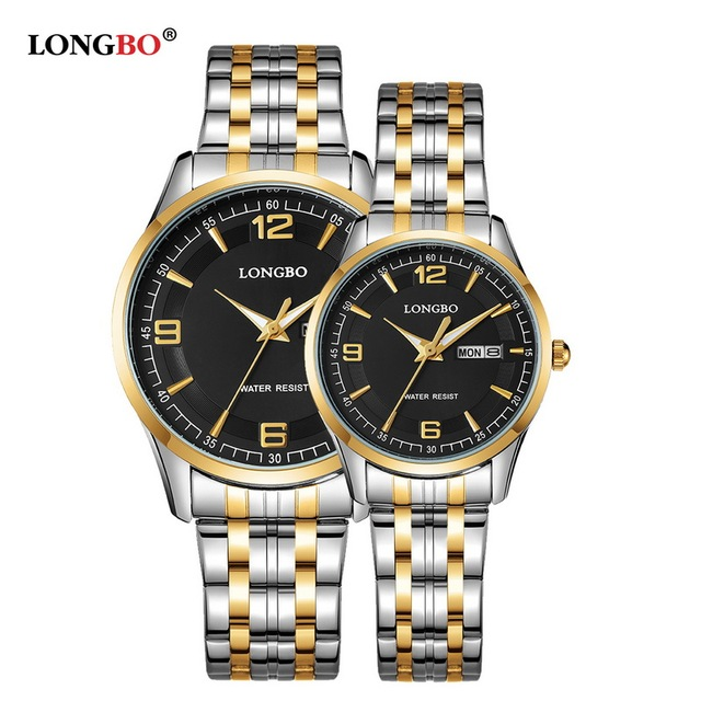 Brand LONGBO Luxury Lovers' Couple Watches Men Waterproof Business Watch Women C